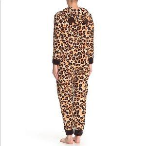 PJ Couture Leopard Fleece Front Zip One Piece PJ